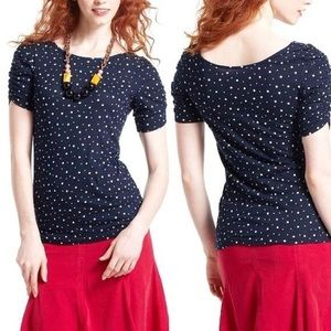 Anthropologie Little Yellow Button Polka Dot Top